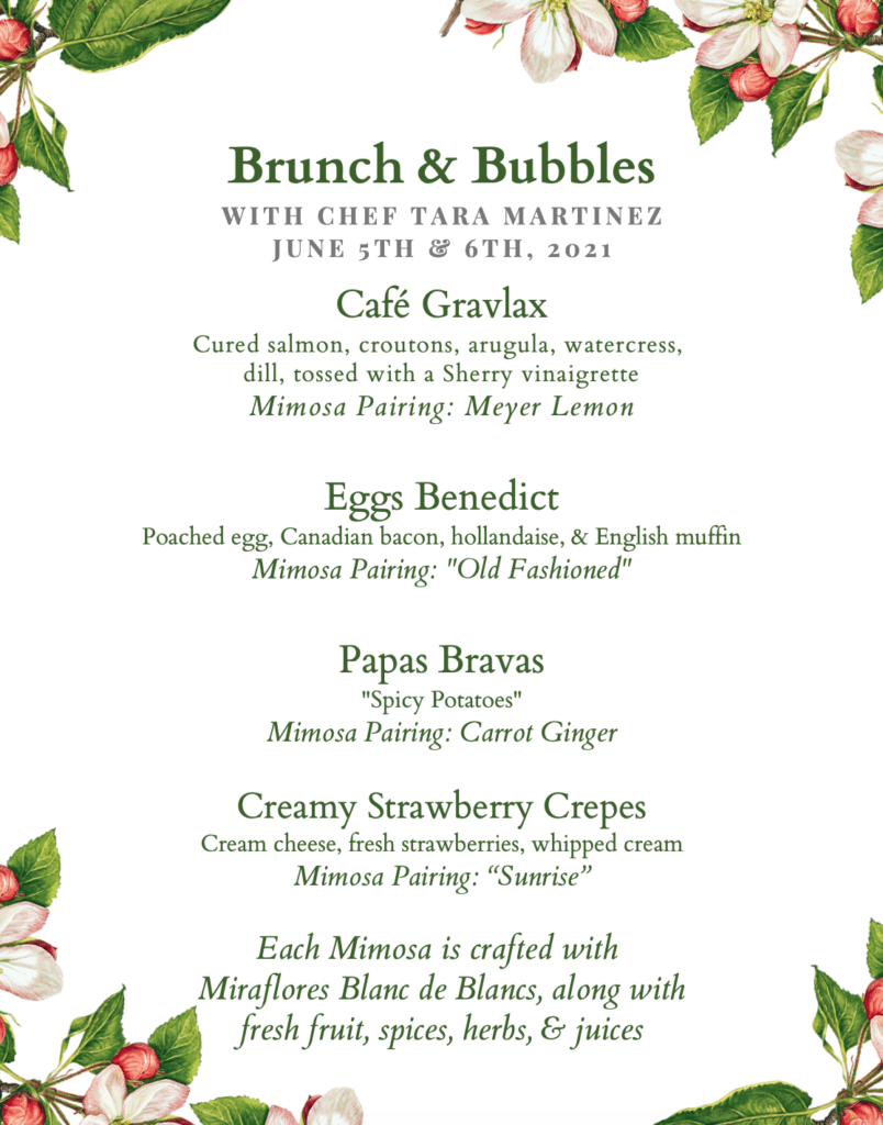 New Brunch & Bubbles with Chef Tara Martinez