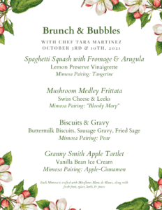 Brunch and Bubbles Menu for October 3rd and October 10th