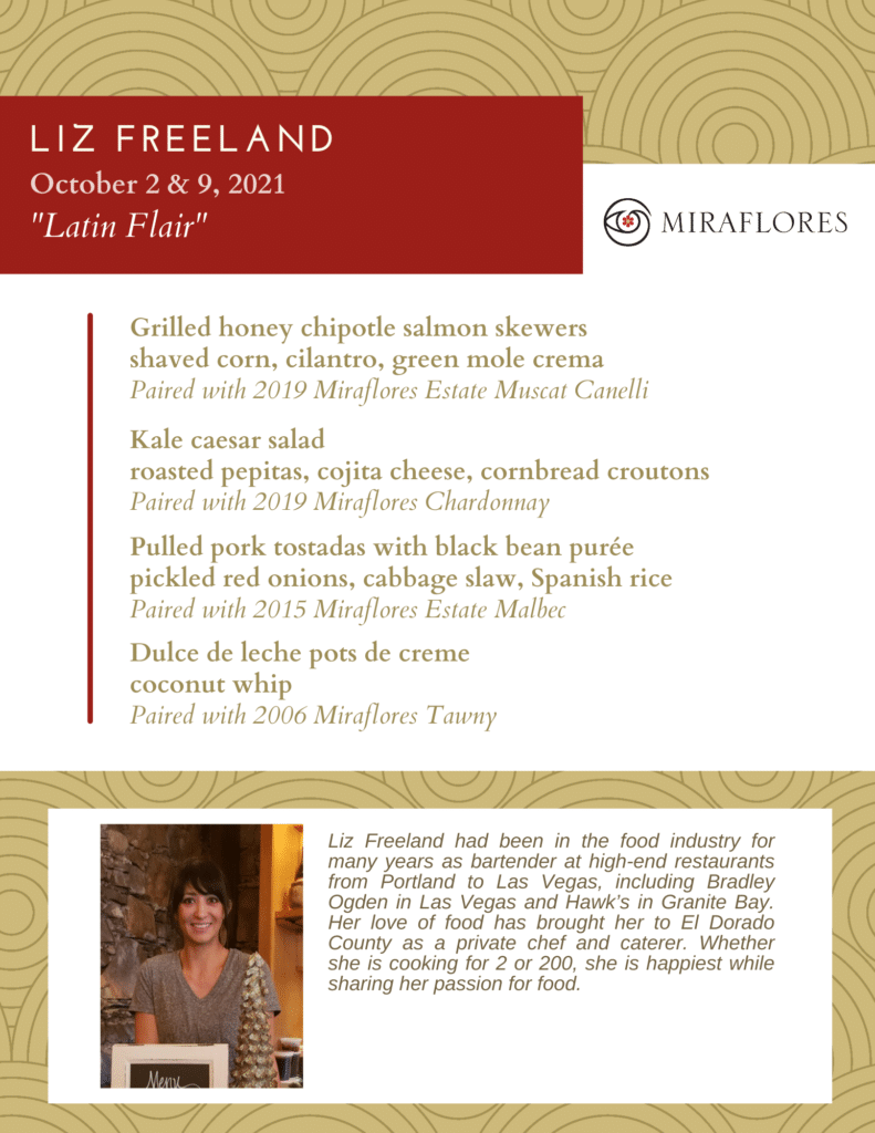Chef Liz Freeland's October Pairings Menu